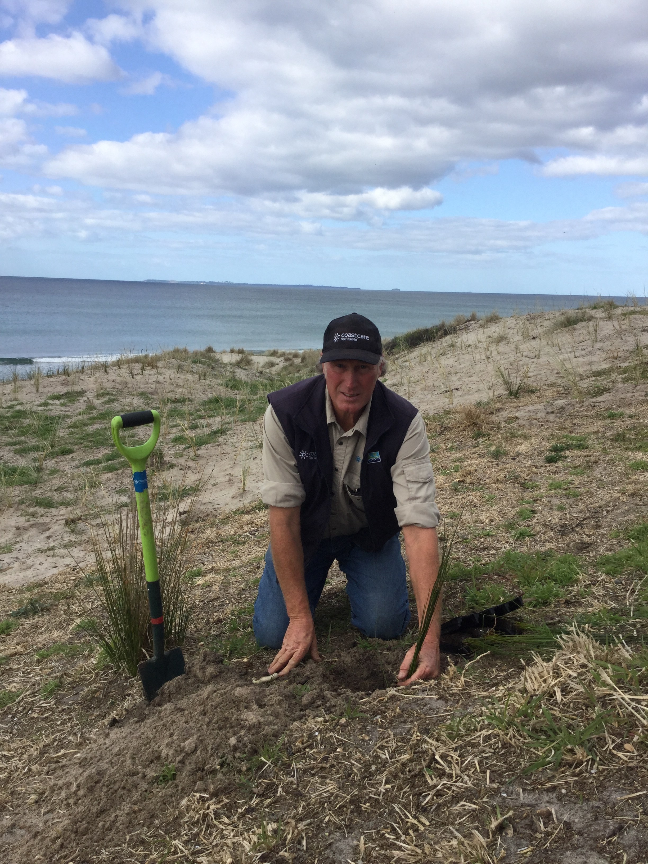 Chris Ward, Coast Care contractor at Omanu beach September 2015
