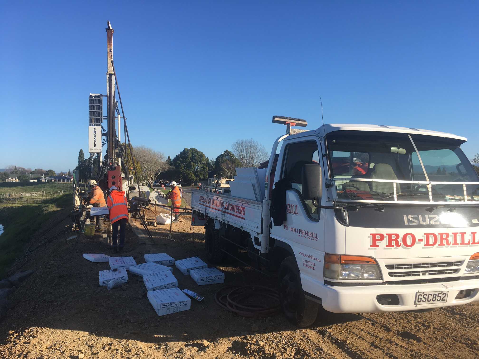 Geotech drill on site in Edgecumbe 15 June 2017