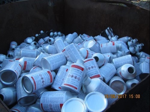 Empty phosphine canisters